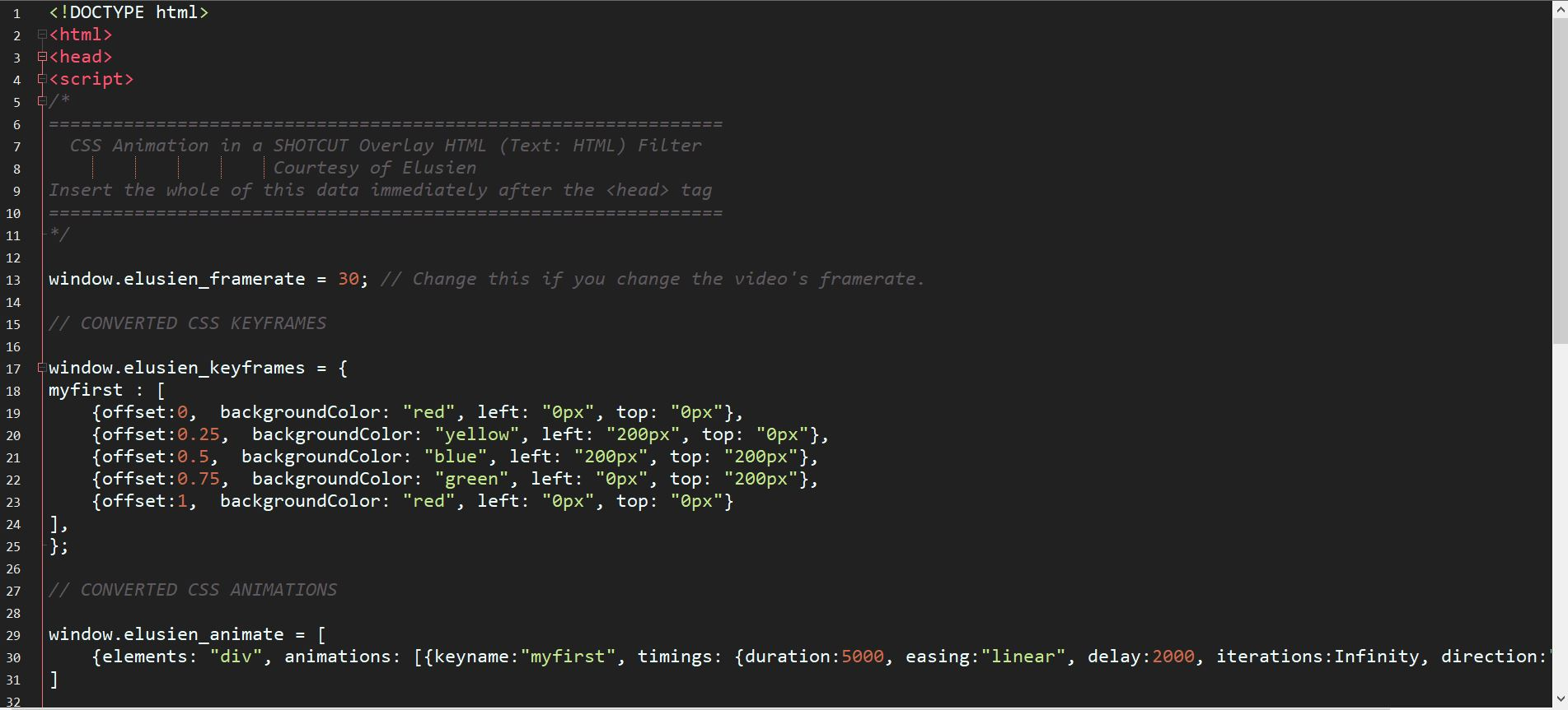 HTML/CSS3 Animations now possible in Shotcut - Resources