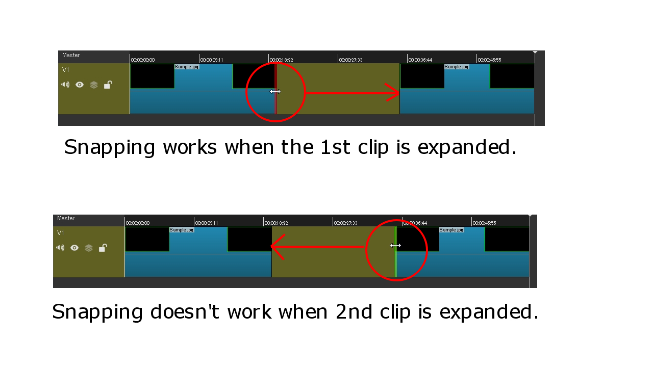 Snapping doesn't take effect when trimming to close the empty gap
